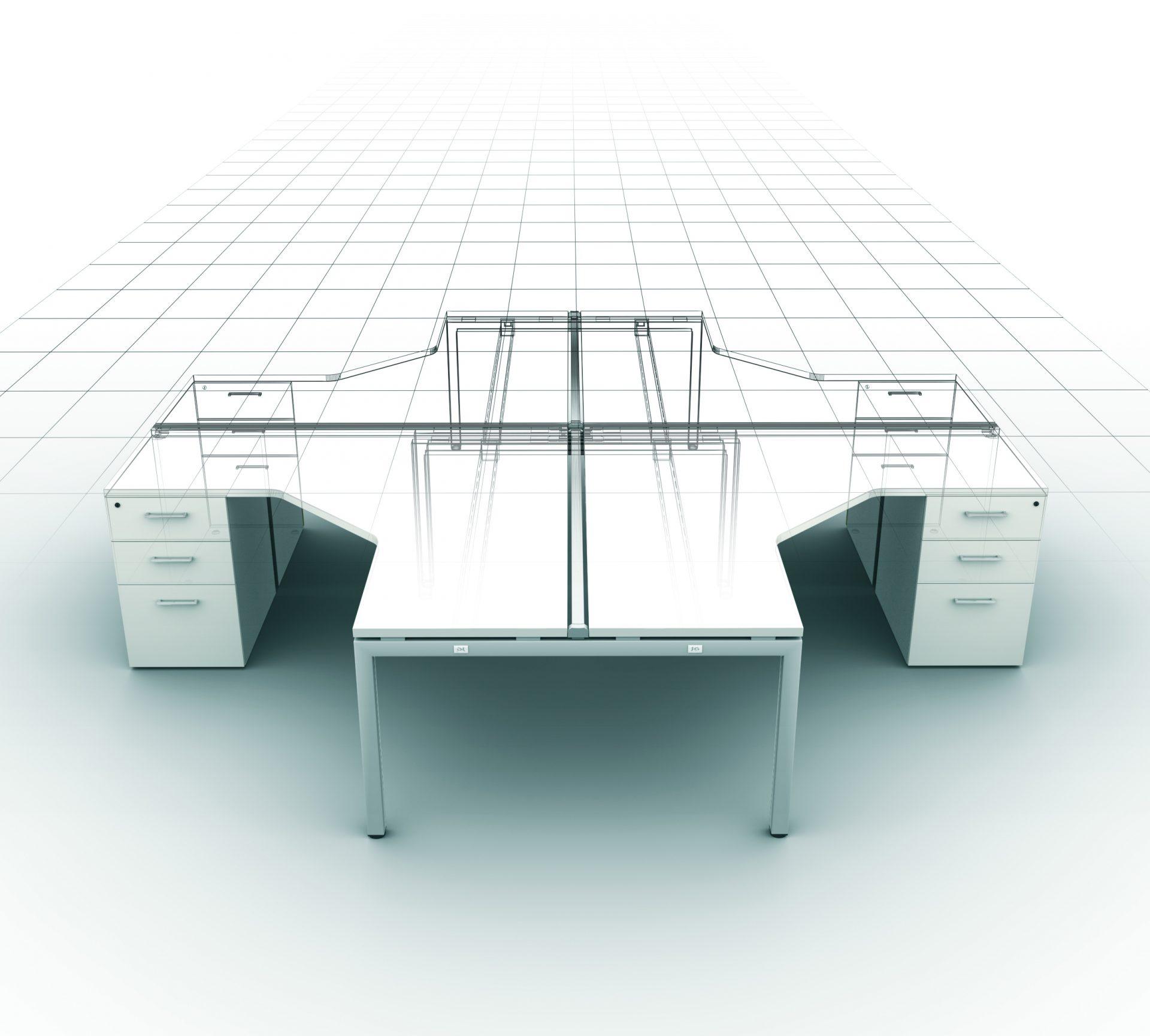 bureau à angle 90° adapta - 2m mobilier bureau