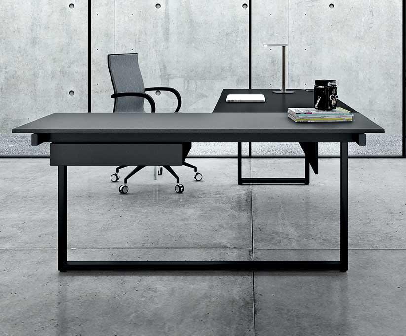 Bureau dangle en mélamine et verre be.1 2m mobilier bureau