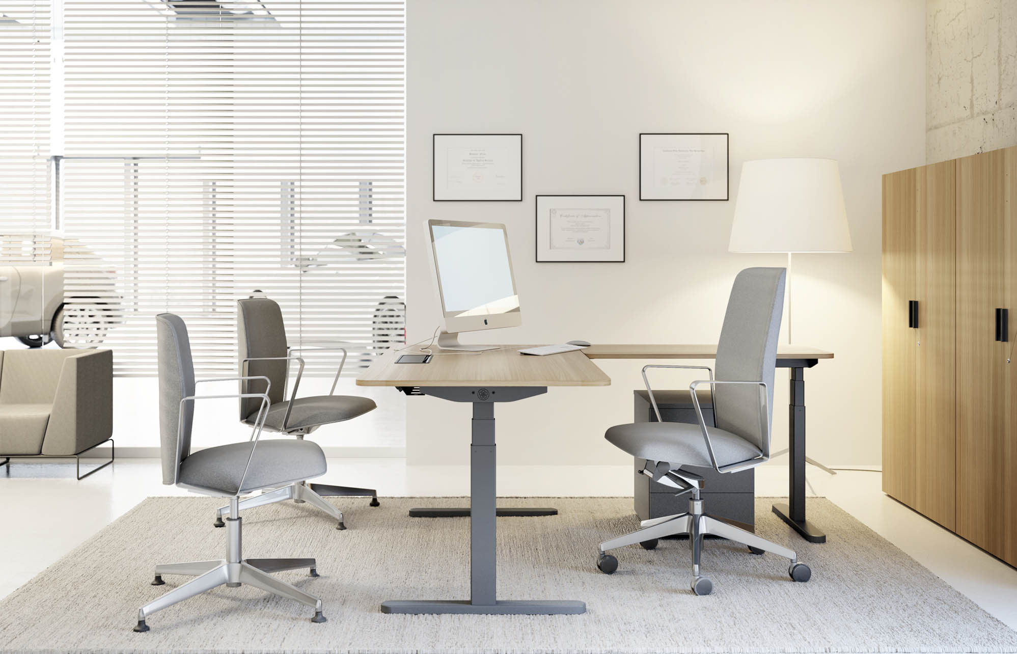 Bureau dangle réglable en hauteur skala 2m mobilier bureau